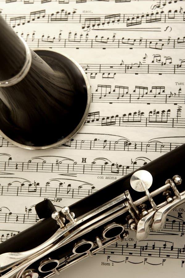 De muziek van de klarinet en van het blad royalty-vrije stock foto