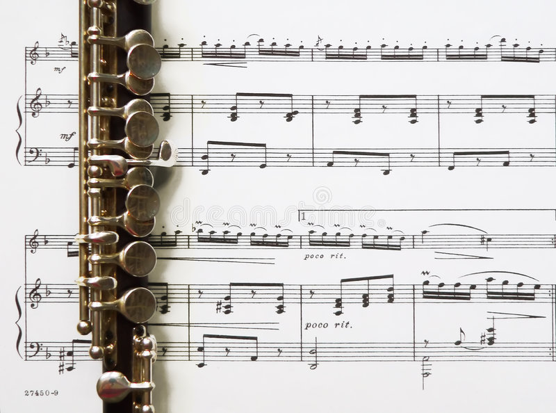 De muziek van de piccolofluit en van het blad stock afbeelding