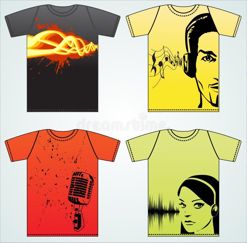 De muziek van de t-shirt stock illustratie