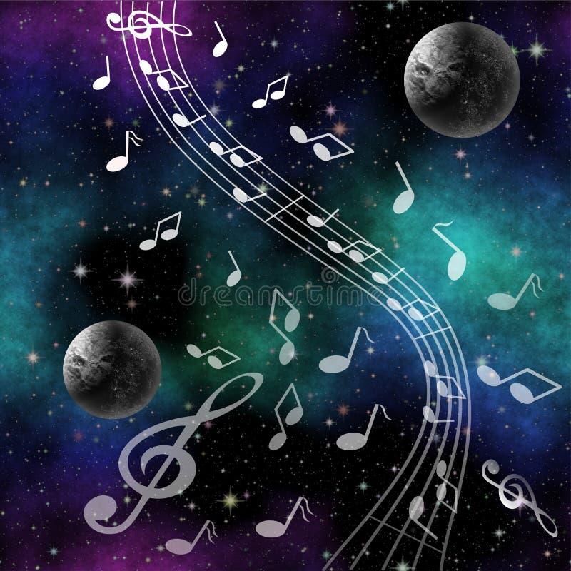 De Muziek van het fantasiebeeld van ruimte met planeten en g-sleutel vector illustratie