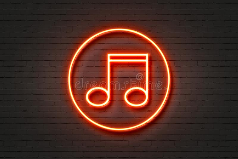 De muziek van het neonlichtpictogram stock foto's