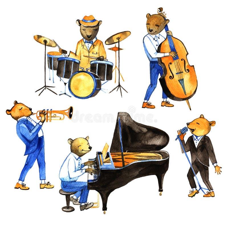 De muziek van de waterverf jass band Illustratie met berenmusici Slagwerker, zanger, pianist, dubbele basspeler, trompetter royalty-vrije illustratie