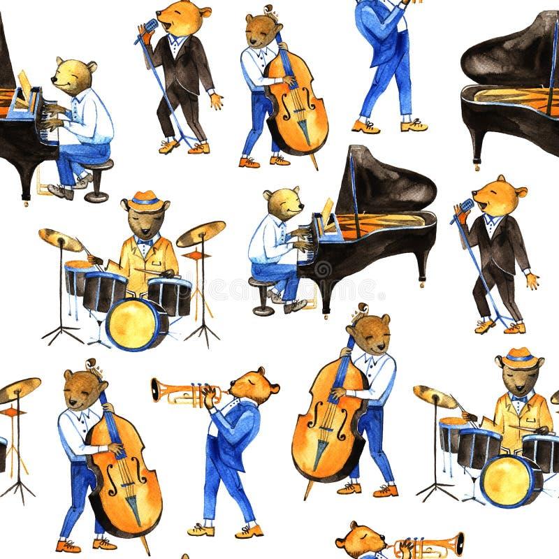 De muziek van de waterverf jass band Naadloos patroon Illustratie met berenmusici Slagwerker, zanger, pianist, dubbele baarzen stock illustratie