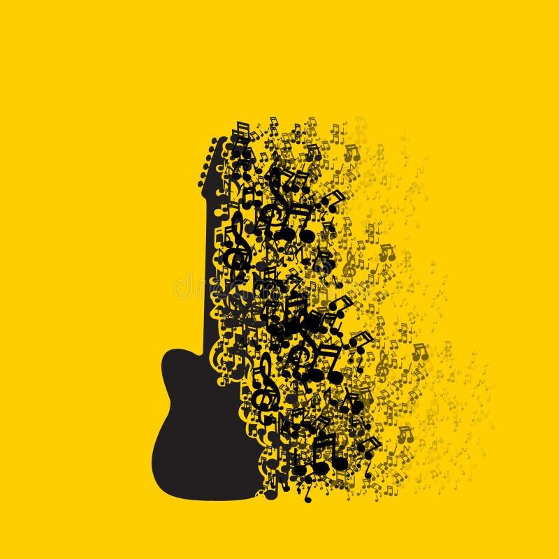 De Muziekachtergrond van het gitaarpictogram vector illustratie