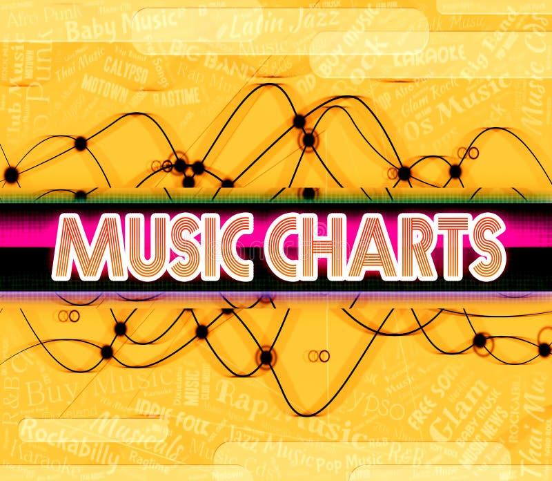 De muziekgrafieken wijst op Top Ten en Beste vector illustratie