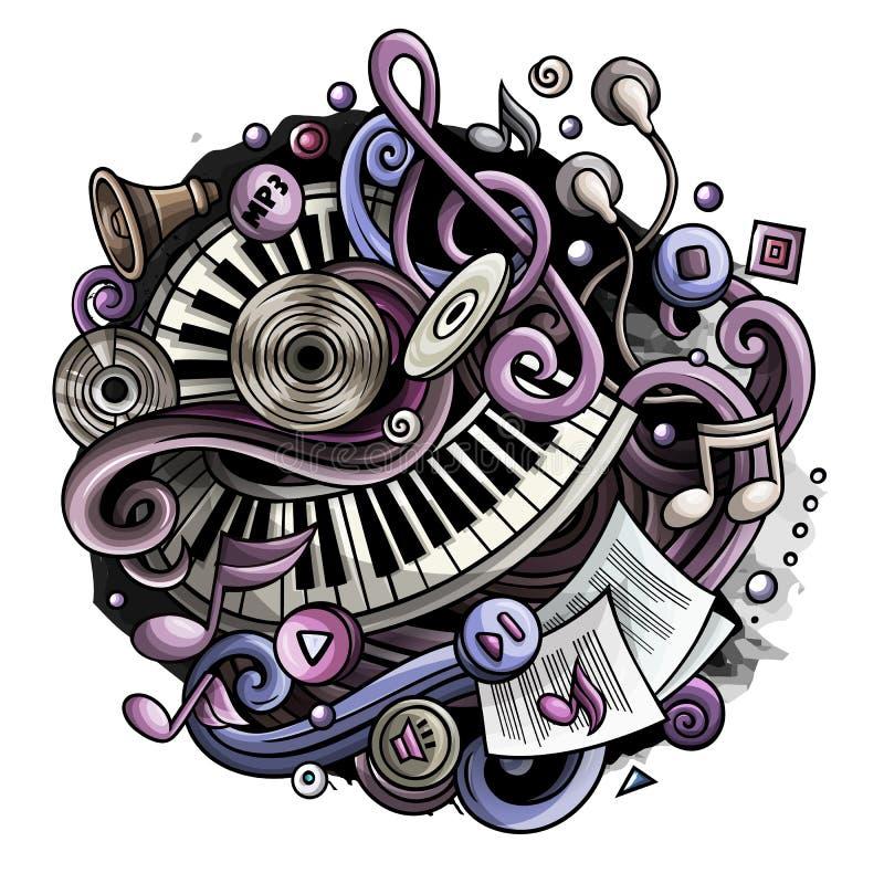 De Muziekillustratie van beeldverhaal leuke krabbels vector illustratie