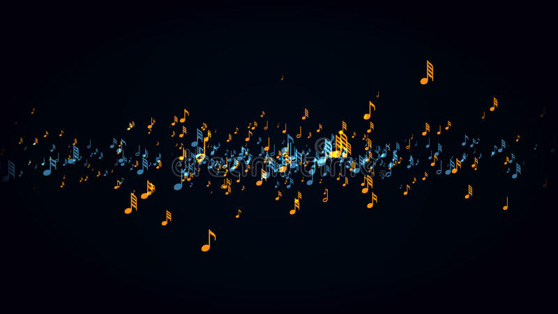 De muzieknoten met diepte van gebied stock illustratie