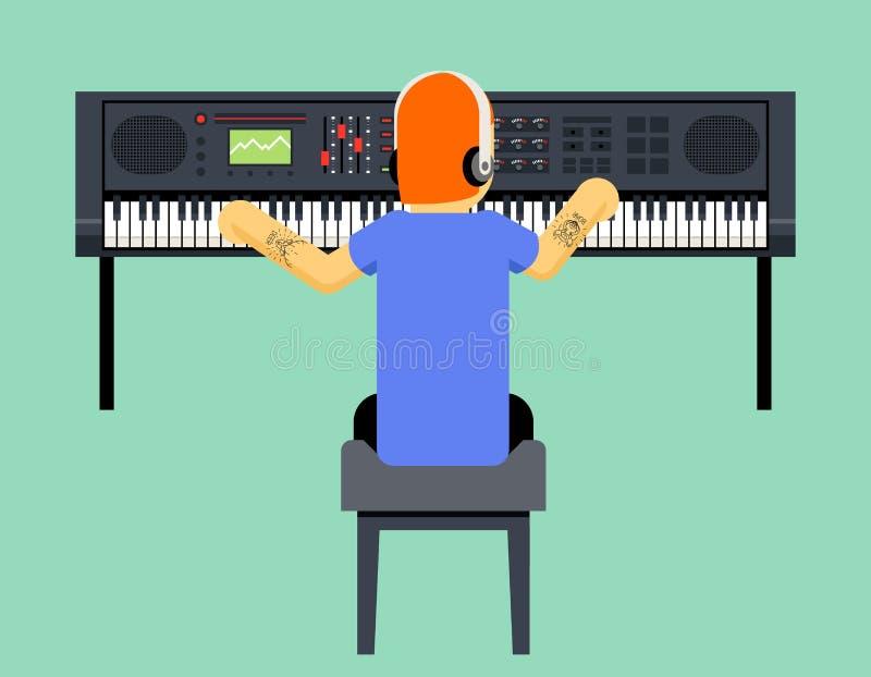 De Muziekspeler van musicussynthesizer geek hipster royalty-vrije illustratie