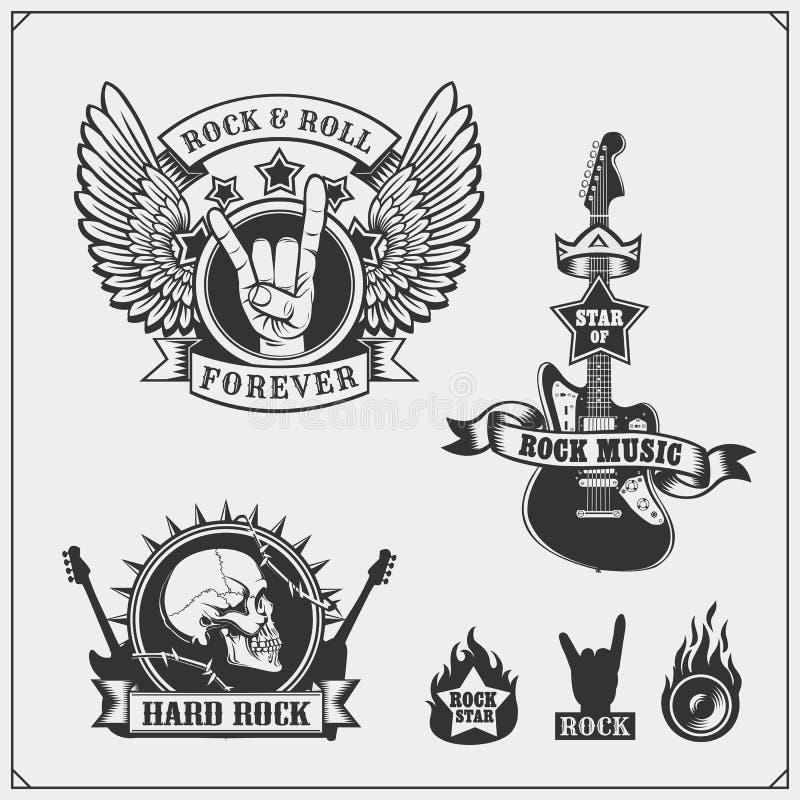 De muzieksymbolen van het rots` n ` Broodje, etiketten, emblemen en ontwerpelementen stock illustratie