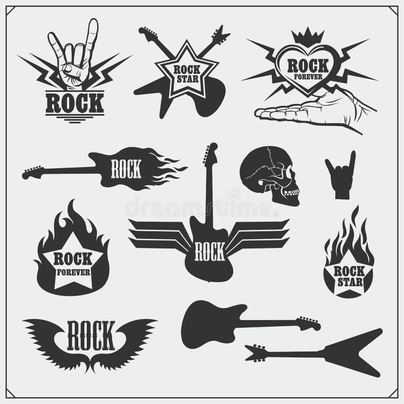 De muzieksymbolen van het rots` n ` Broodje, etiketten, emblemen en ontwerpelementen royalty-vrije stock afbeeldingen