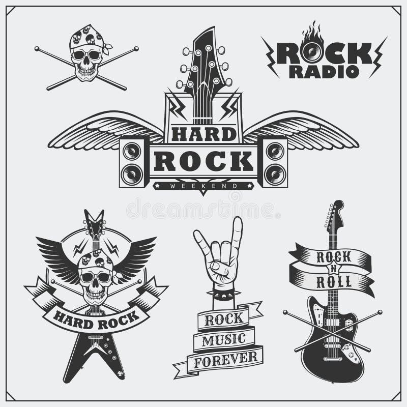 De muzieksymbolen van het rots` n ` Broodje, etiketten, emblemen en ontwerpelementen royalty-vrije illustratie