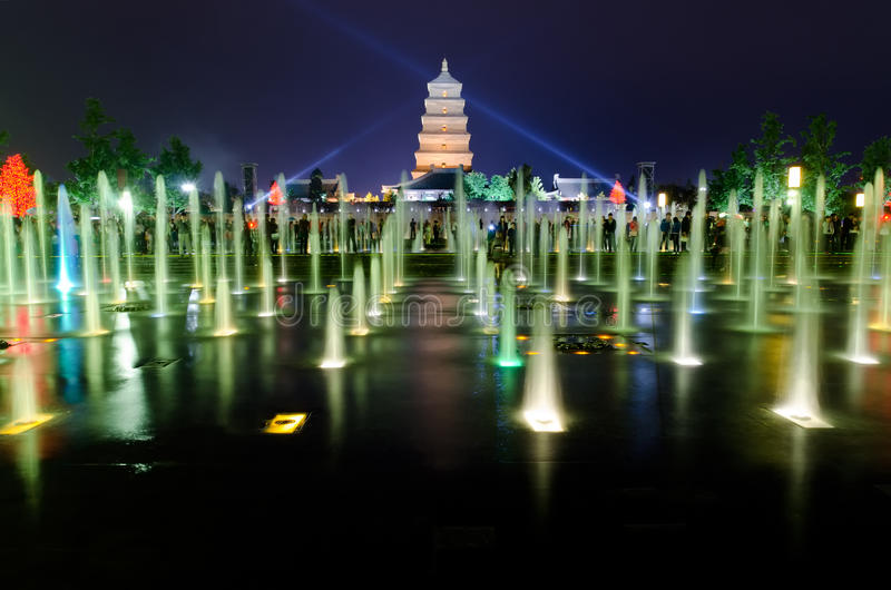 De muzikale Fontein toont in Xian royalty-vrije stock fotografie
