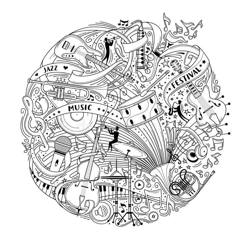 De muzikale instrumenten verdunnen lijn vectorillustratie stock illustratie