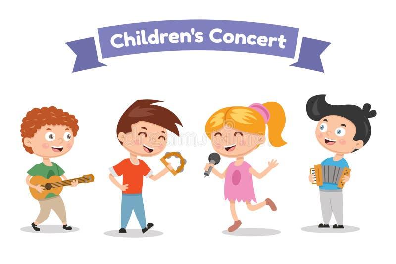 De muzikale kinderen verbinden op een witte achtergrond Zanger en musici Vectorillustratie in beeldverhaalstijl vector illustratie