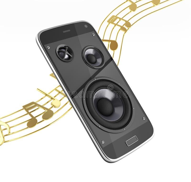 De muzikale muziek app Cellphone van de smartphone Mobiele telefoon en luidsprekers met nota's zonder schaduw op witte 3d achterg royalty-vrije illustratie