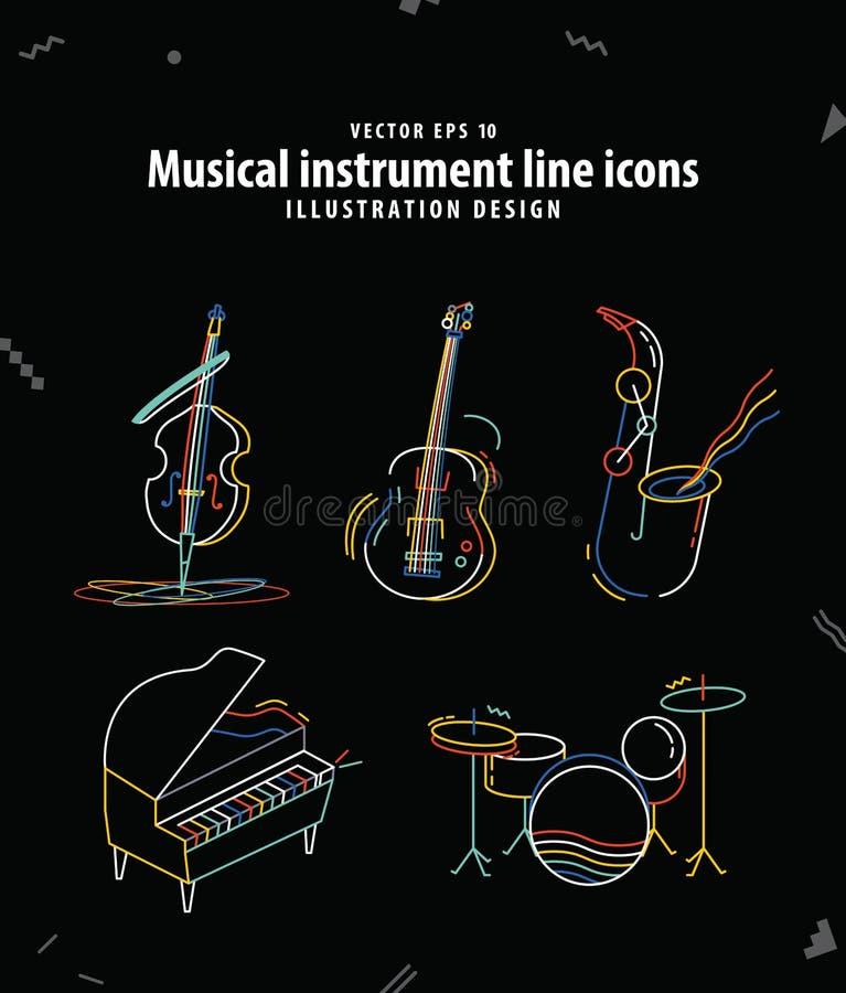 De muzikale vector van de de pictogrammenillustratie van de instrumentenlijn Het concept van de muziek royalty-vrije illustratie