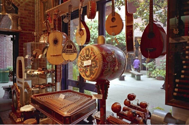 De muzikale Winkel San Francicsco van het Instrument stock foto