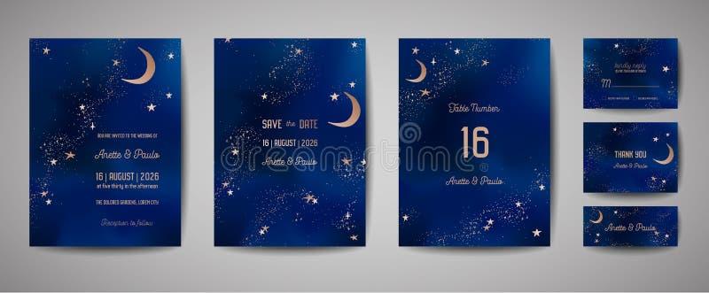 De mystieke achtergrond van de Nachthemel met halve maan en sterren De de nachtuitnodiging van het huwelijksmaanlicht en bewaart  royalty-vrije illustratie