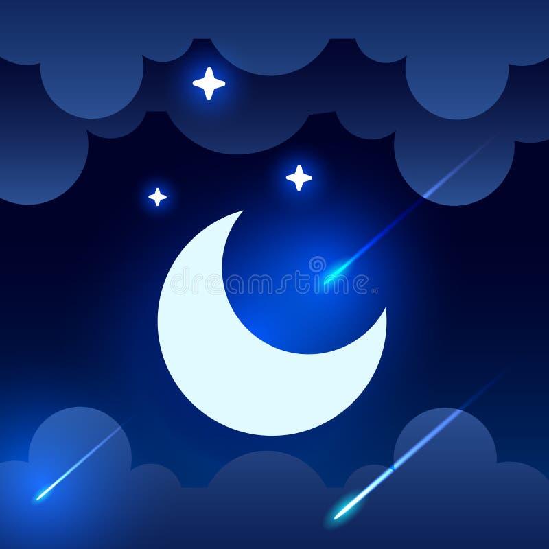 De mystieke achtergrond van de Nachthemel met halve maan, wolken en sterren De nacht van het maanlicht Vector royalty-vrije illustratie