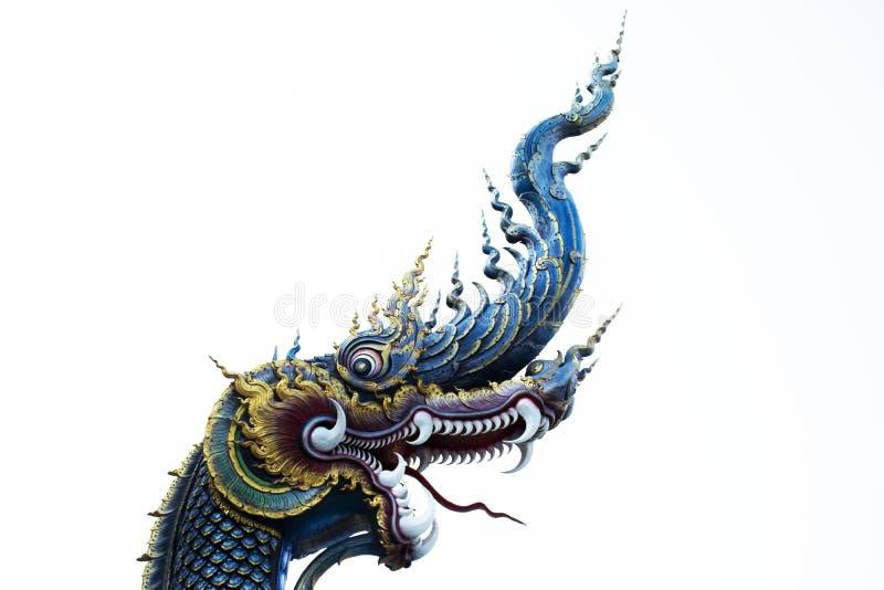 De mythische dierlijke stijl van standbeeldlanna bij Wat Rong Suea Ten-tempel in Chiang Rai, Thailand stock afbeelding