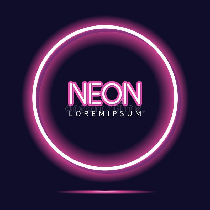 De néon ilumine - o fundo cor-de-rosa ilustração do vetor