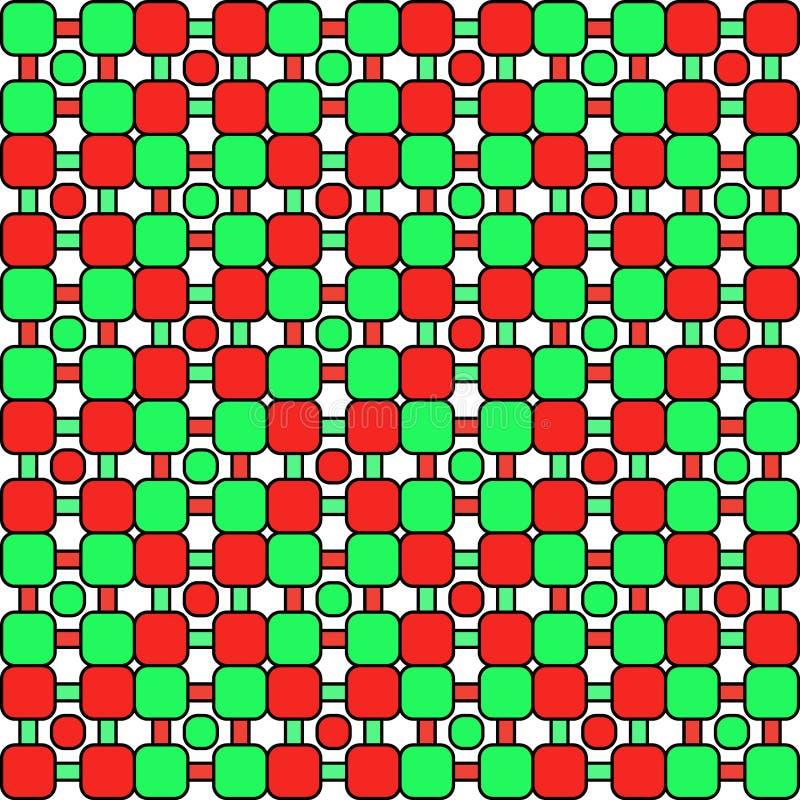 De naadloze abstracte achtergrond van het mozaïek geometrische uitstekende patroon met kleurrijke rond gemaakte groen en rode vie stock illustratie