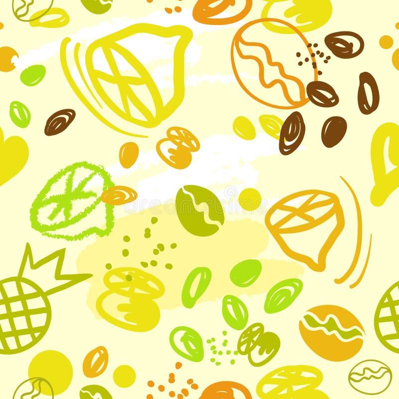 De naadloze abstracte koffie van de patrooncitroen anans royalty-vrije illustratie