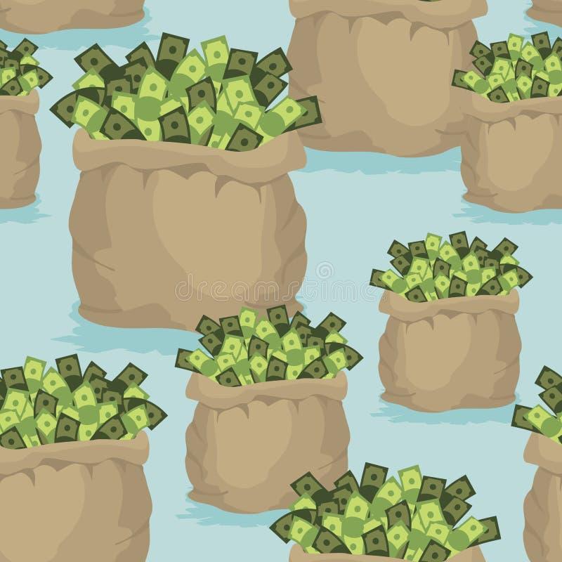 De naadloze achtergrond van de contant geldzak Patroon van dollars van geld Ornam royalty-vrije illustratie