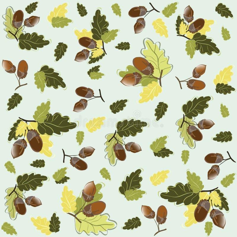 De naadloze achtergrond van de herfst. De eikels van de illustratie. vector illustratie