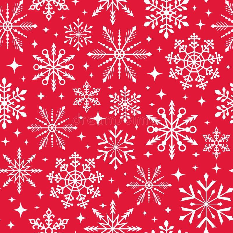 De naadloze achtergrond van de Kerstmissneeuwvlok stock illustratie