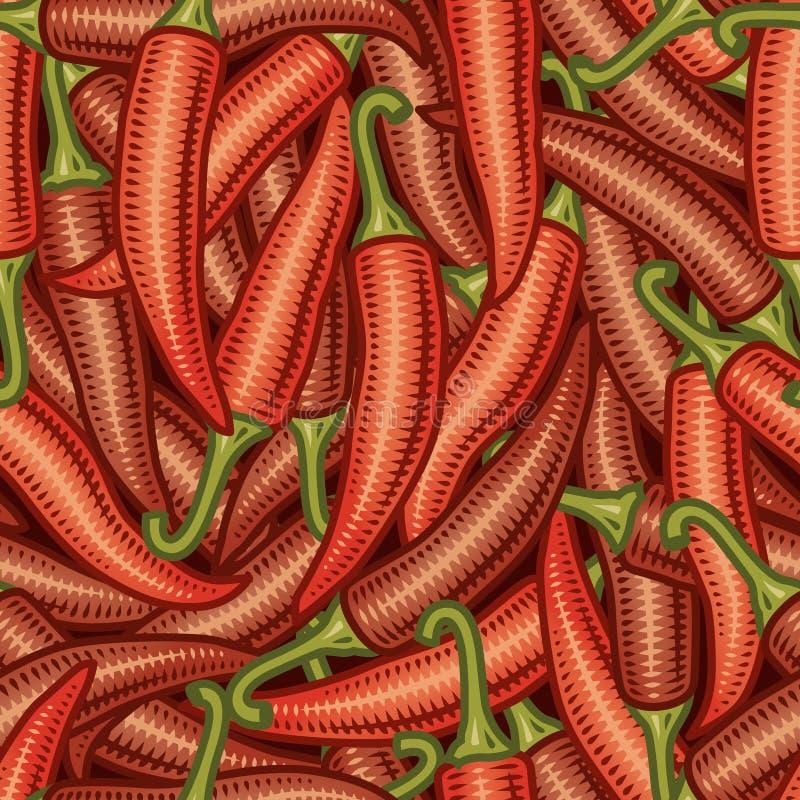 De naadloze achtergrond van de Spaanse peperpeper stock illustratie