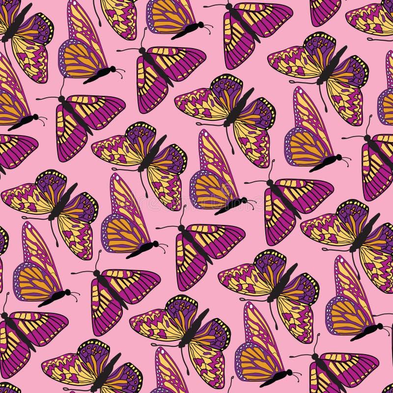De naadloze achtergrond van de vlinder stock illustratie