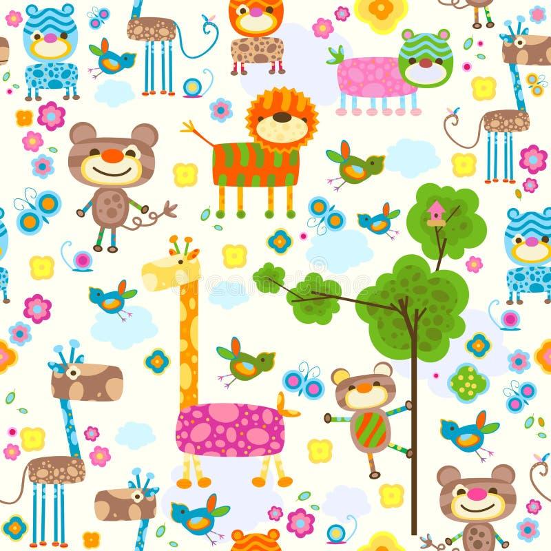 De naadloze achtergrond van dieren royalty-vrije illustratie
