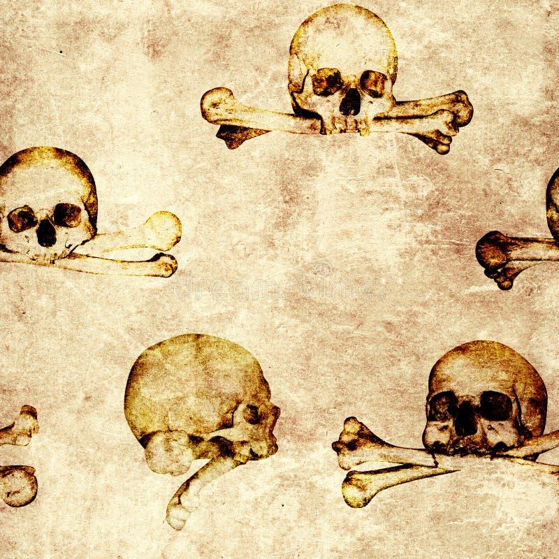 De naadloze achtergrond van grungehalloween met menselijke schedels vector illustratie