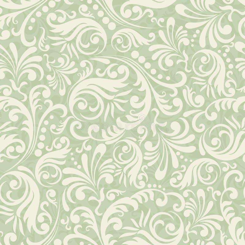 De naadloze achtergrond van het Damast in de stijl van groen stock illustratie