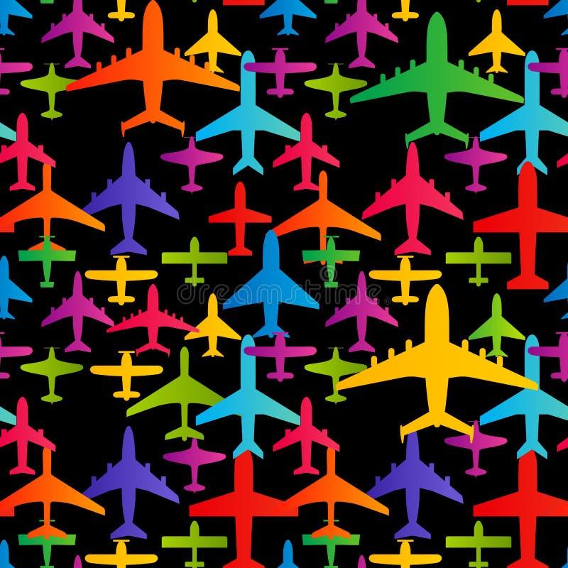 De naadloze achtergrond van het vliegtuig Kleurrijk het patroonmalplaatje van het vliegtuigenvervoer Luchtvaart vector herhaalbar royalty-vrije illustratie