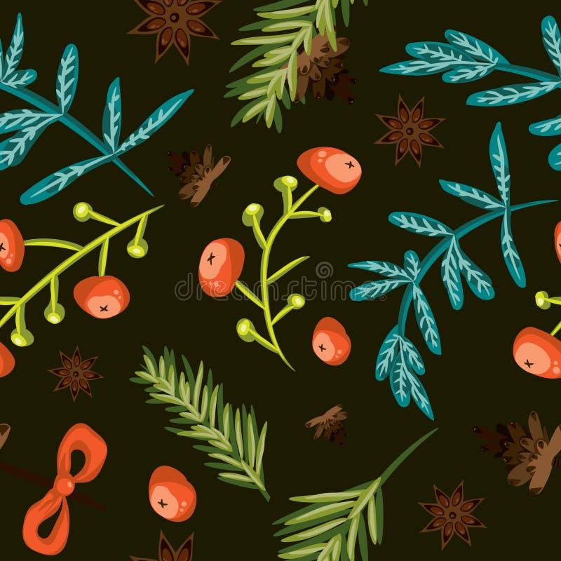 De naadloze achtergrond van Kerstmis Tegel botanisch patroon De vector illustreerde betegeld behang Decoratieve het verpakken doc vector illustratie