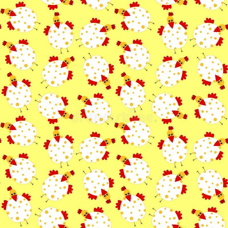 De naadloze achtergrond van kippenpasen vector illustratie
