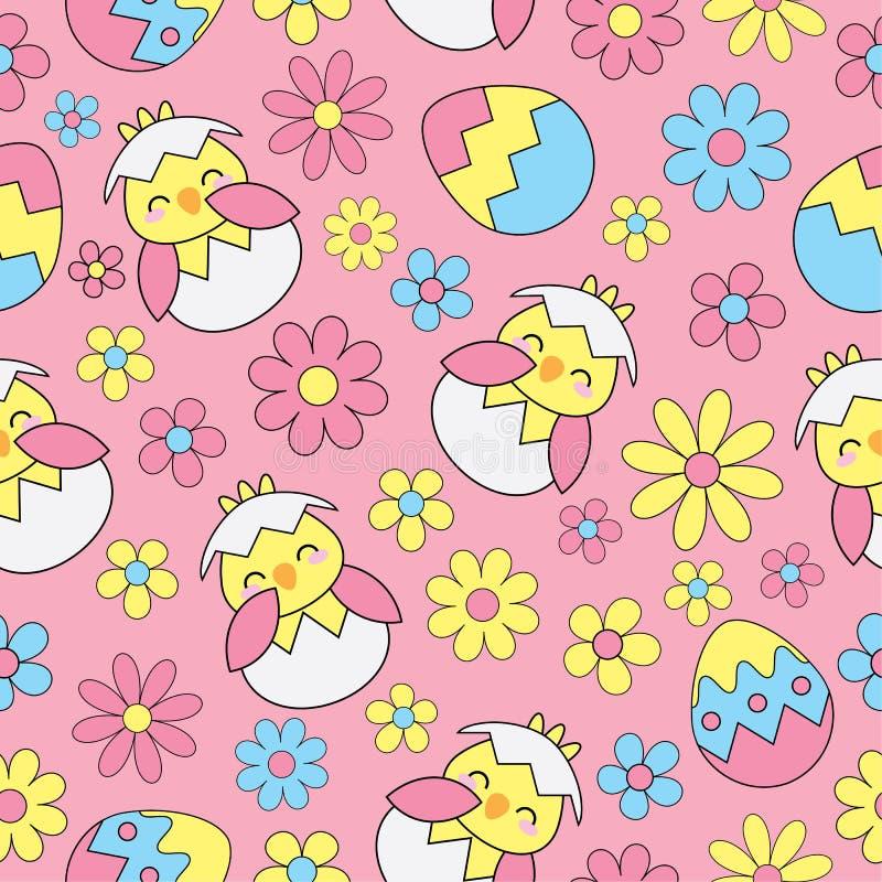 De Naadloze achtergrond van Pasen met leuke kuiken, eieren en bloemen op roze achtergrond vector illustratie