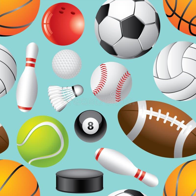 De naadloze achtergrond van sportballen in  vector illustratie