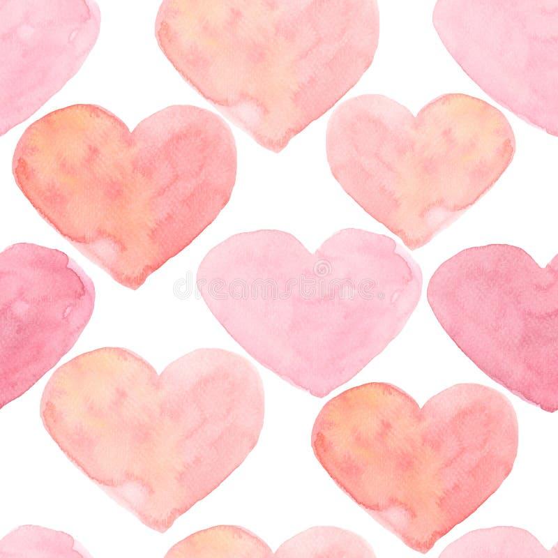 De naadloze achtergrond van waterverfharten Het roze patroon van het waterverfhart Kleurrijke waterverf romantische textuur vector illustratie