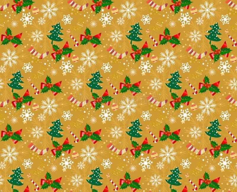 De naadloze achtergronden s van het Kerstmispatroon stock illustratie