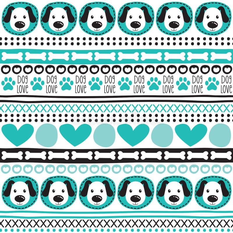 De naadloze Azteekse vectorillustratie van het hondpatroon vector illustratie