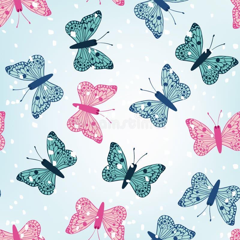 De naadloze blauwe achtergrond van de wintervlinders met sneeuw vector illustratie