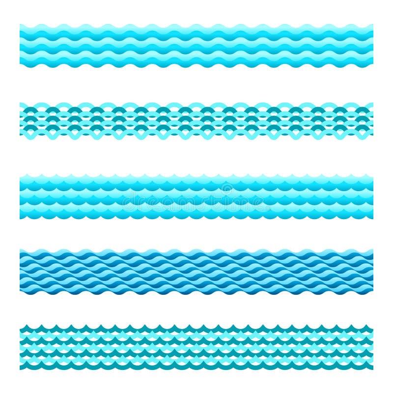 De naadloze blauwe vector geplaatste tegels van de watergolf vector illustratie