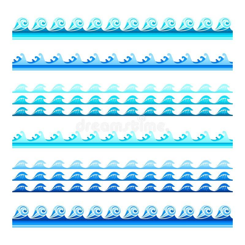 De naadloze blauwe vectorbanden van de watergolf plaatsen voor footers, patronen en texturen royalty-vrije illustratie