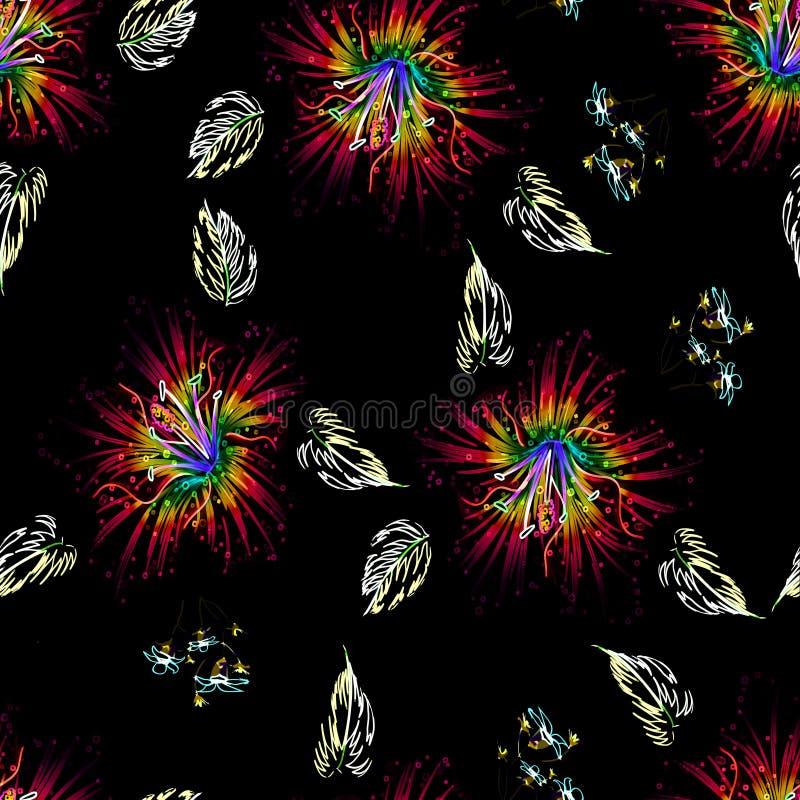De naadloze bloem van de patroonlelie met bladerenneon gekleurd ontwerp vector illustratie