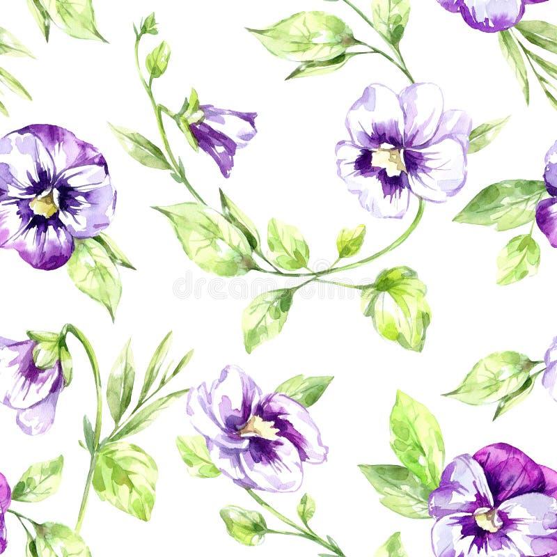 De de naadloze bloemen en bladeren van patroonpansies De zomer en de lentewaterverfillustratie Botanische textuur Vers en stock illustratie