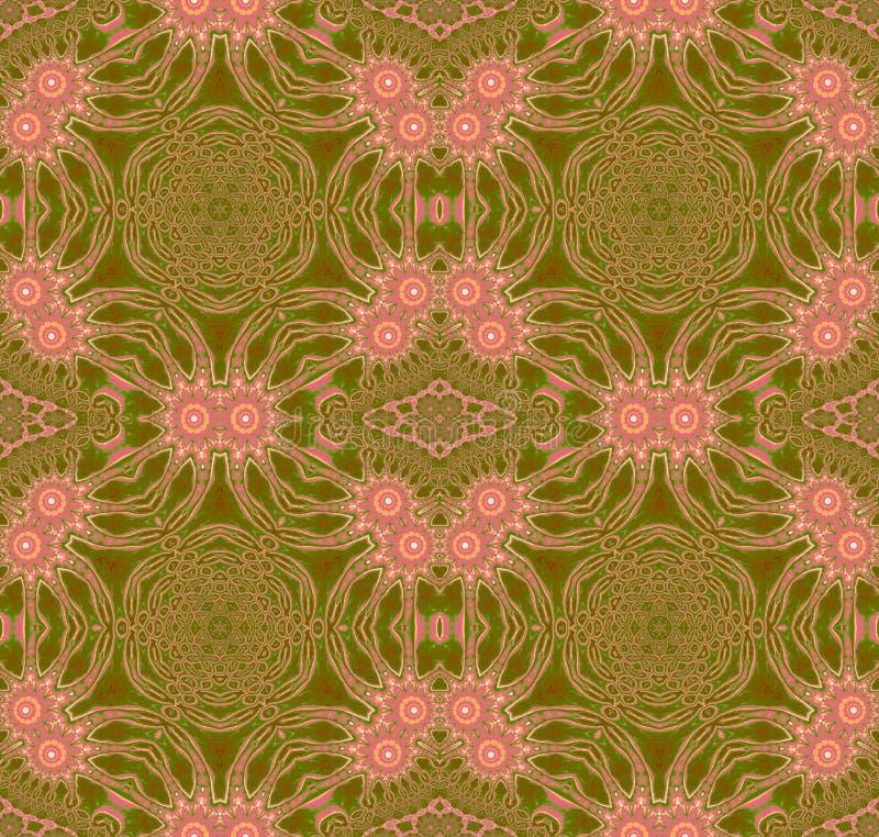 De naadloze bloemen roze bloesems van het cirkelornament op olijf groen met bruin royalty-vrije illustratie
