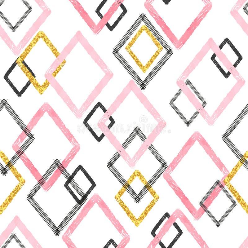 De naadloze borstel strijkt patroon Geometrische Achtergrond royalty-vrije illustratie